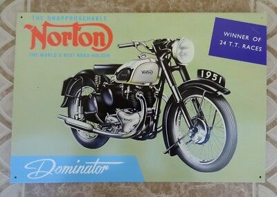 1951 NORTON Dominator Twin Cylinder Motorcycle Metal Sign - Discontinued Repro