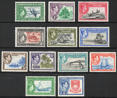 Gilbert & Ellice 1939 KGVI set of mint stamps value to 5/- Lightly Hinged