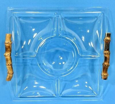 Vintage Clear Acrylic Tiki Mod Sectioned Serving Tray with Bamboo Handles 60's