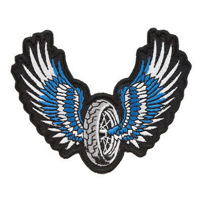 Blue Winged Motorcycle Wheel Patch, Biker Patches
