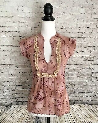 Sweet Pea Stacy Frati Women s Size M V-Neck Floral Mesh Top Lace Bib Pink 520ca53e4