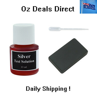 SILVER TEST KIT Liquid Ag Rub Stone Tester Set, jewelry antiques coin silver