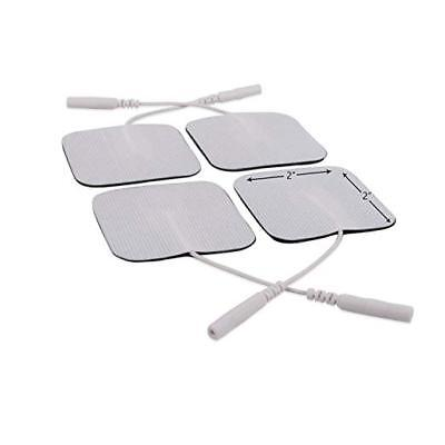 "Electrode Pads for TENS Unit EMS Machine Device Massager 4 Pieces Square 2"" x 2"""