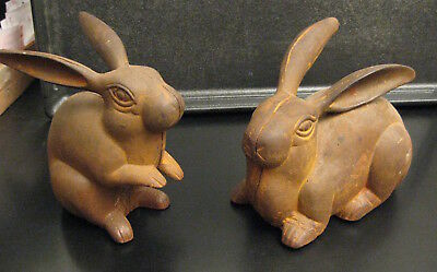 2 Antique/Vintage CAST IRON BUNNY RABBITS (Garden/Doorstop?) *Unique & Amazing!*