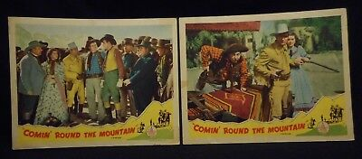 Gene Autry Comin' Round The Mountain 2 Lobby Card Lot Republic Reissue Western