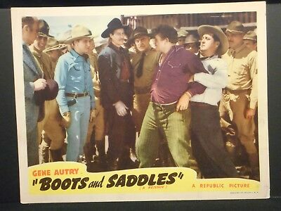 Gene Autry Boots and Saddles Lobby Card VF 40s Republic Reissue Western