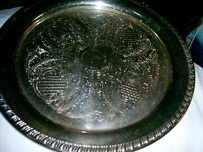 Plate - Tray - Silverplated - Etched Round Serving Tray