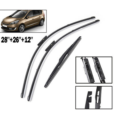 3PCS Front Rear Wiper Blades Fit For Renault Scenic / Grand Scenic MK3 2009-2016