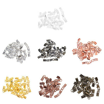12 Sets Fold Over Crimp Cord End Cap Clips Bail Tips Connector Lobster Clasp