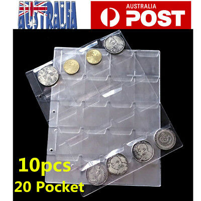10X 20 Pockets Coin Holders Folder Pages Sheets For Collection Album Storage AU