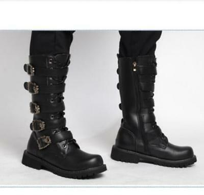 Mens buckle Lace up high-top Military Combat boots Motorcycle knight shoes Punk