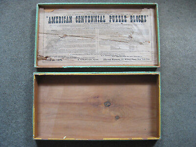 Vintage Antique 1876 Philadelphia AMERICAN CENTENNIAL EXHIBITION PUZZLE WOOD BOX