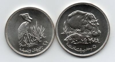 1976 North African Conservation Hippo & Stork .925 Silver Crowns Unc