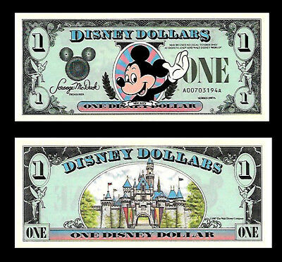 Disney Dollars  1$ 1987 First Year Issued Uncirculated