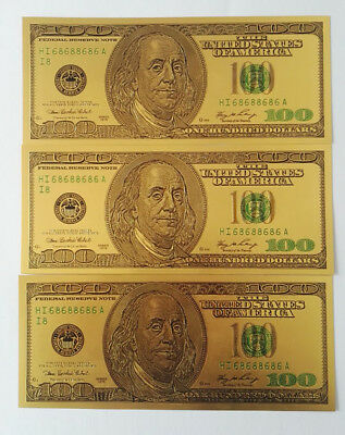 10pcs Old Version $100 dollar Gold Foil USD Paper Money Banknotes Crafts YZ