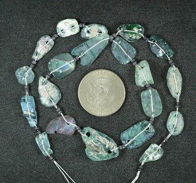 Ancient Roman Glass Beads 1 Medium Strand Aqua And Green 100 -200 Bc 936