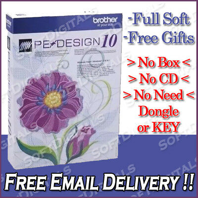 Brother PE Design 10 Embroidery Full Software & Gifts & Fonts - Instant delivery