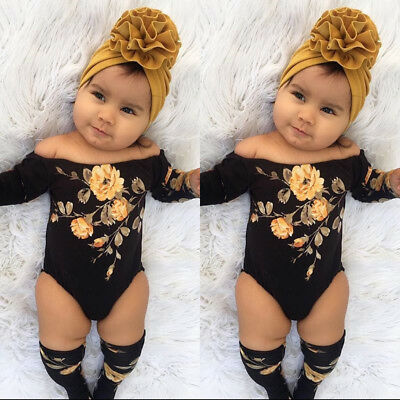 Baby Girl Infant Off Shoulder Flower Romper Jumpsuit+Leg Warmers Outfits Clothes