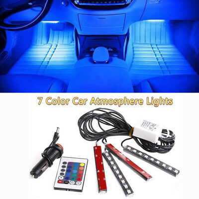4Pcs 9LED Remote Control Colorful RGB Atmosphere Light Strip Car Interior Floor