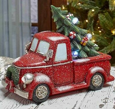 Vintage Red Pickup Truck Lighted Tree LED Color Changing Christmas Holiday