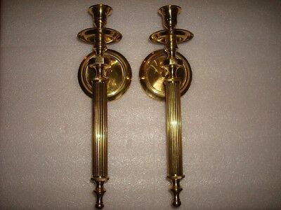 MATCHING PAIR of BRASS WALL MOUNT HANGING CANDLE STICK HOLDER SCONCES 13.25 in.