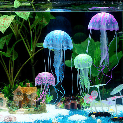 2×FLOATING JELLYFISH Glowing Effect Aquarium Jelly Fish Tank Ornament Decoration