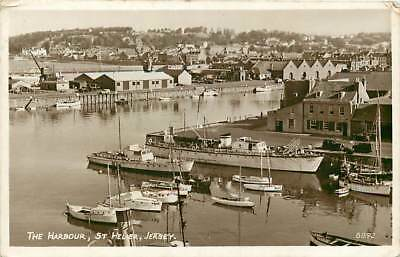Channel Islands, The Harbour, St Helier, Jersey, Real Photo, Posted 1953
