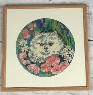Vintage retro framed completed tapestry long stitch - Persian cat with flowers