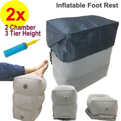 2x Inflatable Foot Rest Footrest Cushion Pillow Flight Travel Car Train Portable