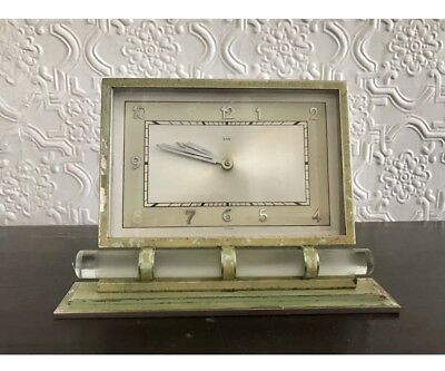 Vintage 1930's Art Deco 8 Day Mantle Clock - Glass