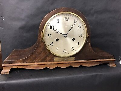 Antique German HAC 8-Day Mantle Clock Original Oak cased Striking Mantel Clock