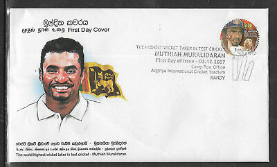 SRI LANKA 2007 MUTHIAH MURALIDARAN TEST CRICKET RECORD 1v Official FDC