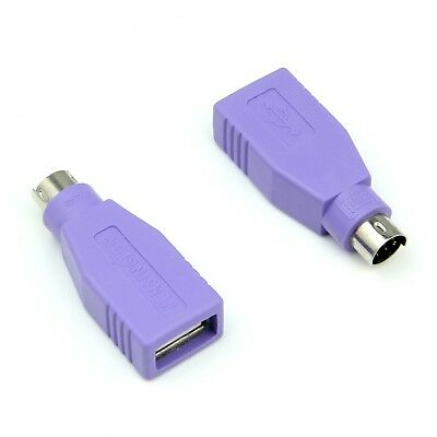 2x USB PS/2 PS2 Male to USB A Female Converter Adaptor For MOUSE & KEYBOARD -EU-