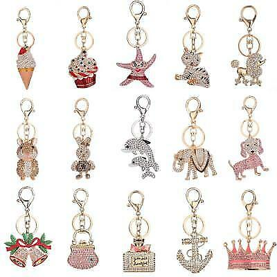 Crystal Rhinestone Keyring Pendant Purse Bag Key Ring Chains Keychain Decor Gift