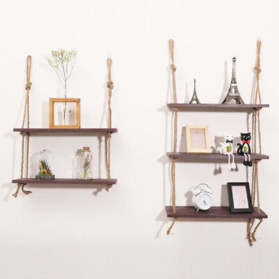 New Wood Wall Hanging Plant Shelves Set Rope Floating Storage Shelf Vintage Home