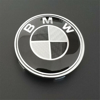 for BMW Logo Real Carbon Fiber Black Silver 82mm&74mm Hood Trunk Badge Emblem