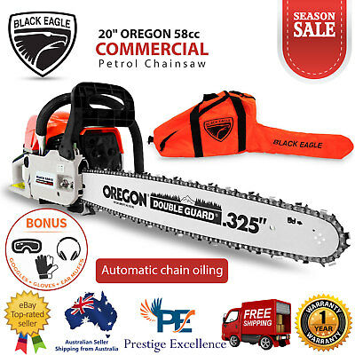 "58CC Commercial Petrol Chainsaw E-Start 20"" OREGON Bar Black Eagle Chain Saw NEW"