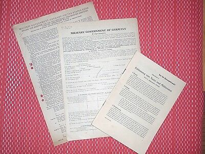 Military Government of Germany US Zone 1945 orig. Fragebogen Militärdienst  WK