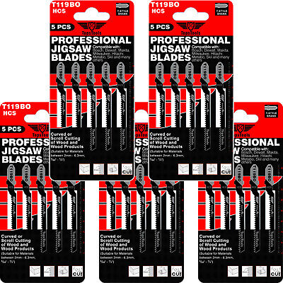 25 x TopsTools T119BO Curved Cuts Jigsaw Blades for Wood Dewalt Bosch Makita