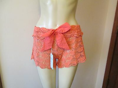 Coral Crochet Cover Up Shorts By Mud Pie Size Large 12 14 Nwt