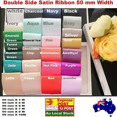 5cm Double side satin ribbon 50mm car ribbon Chocolate Chip, green 1/5/7/8/10 M