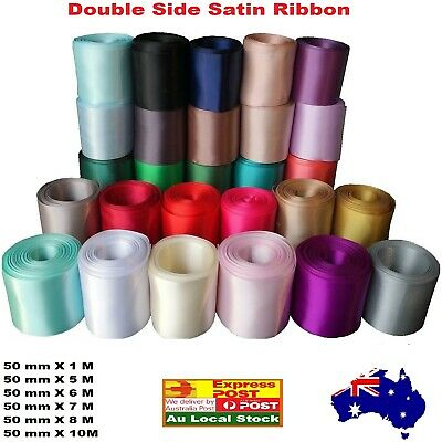 5 cm Double side satin car ribbon 50 mm  Taupe, Vanilla, Watermelon 1/5/7/8/10 M