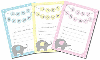 16 A6 Baby Shower Invitation Cards, Elephant,Unisex, Boy, Girl, Pink, Blue