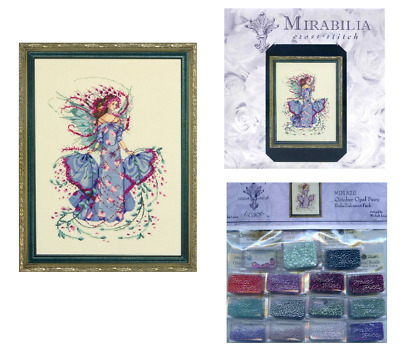 MIRABILIA Cross Stitch PATTERN and EMBELLISHMENT PK March Aquamarine Fairy MD159