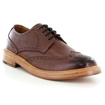 Justin Reece Stan Mens Leather 4-Eyelet Classic Brogue Shoes - Mahogany Brown
