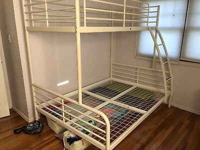 Ikea Tromso Twin Over Full Metal Bunk Bed W Ladder Kids Bedroom