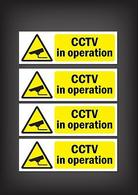 CCTV Sign, Sticker, Pack of 4 Security, Camera, Warning Sign, Safety Stickers