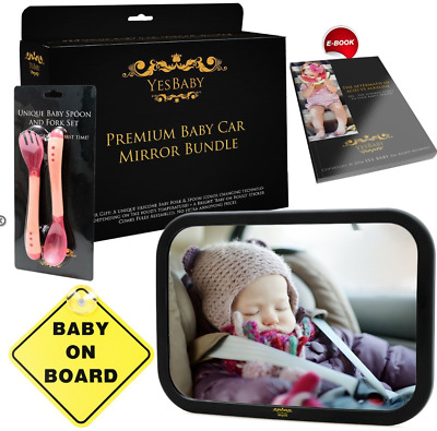 Baby Car Mirror Bundle - Improved Shatterproof Glass - Best Backseat Baby