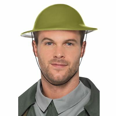 Adults Wartime Tommy Hat Plastic Green Army Military Solider Helmet British