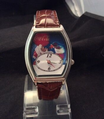 Coca Cola Santa Claus Christmas Quartz Watch With Faux Leather Band New Battery